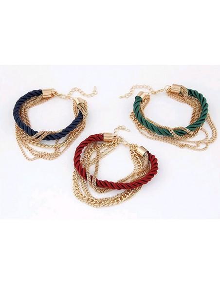Pulsera de cuerda y cadenas