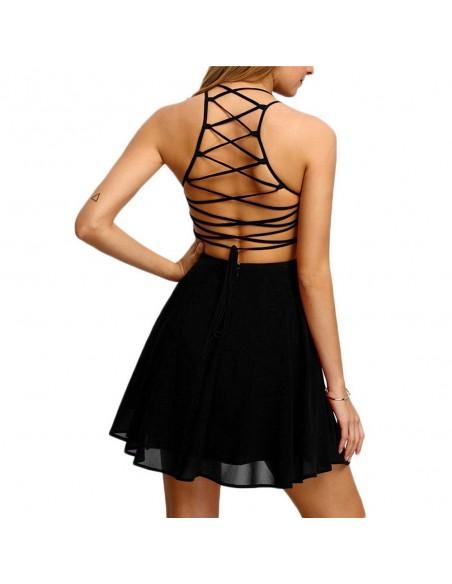 Vestido sin espalda de encaje