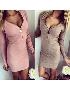 V-Neck Long Sleeve Dress