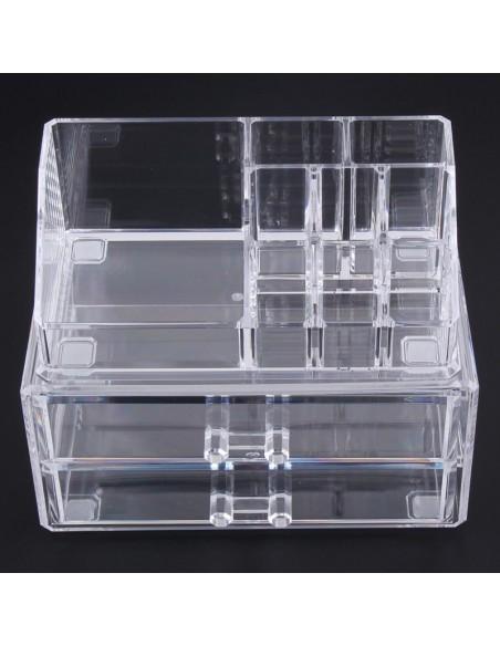Rangement Cosmétiques 2 Tiroirs et 8 Compartiments