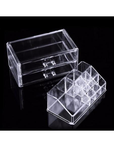 Almacenaje cosmético 2 cajones y 8 compartimentos.