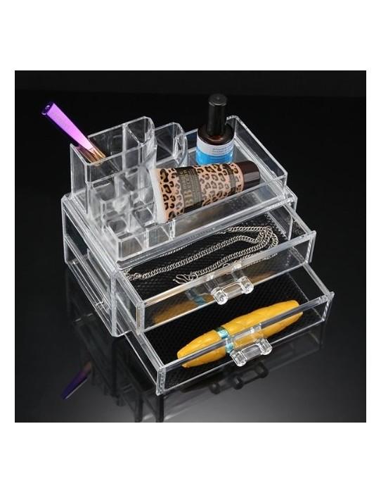 Almacenaje cosmético 2 cajones y 7 compartimentos.