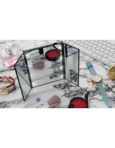 Led portable travel mirror with stand
