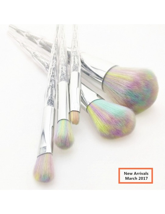 Set of 5 unicorn brushes golden rainbow hairs