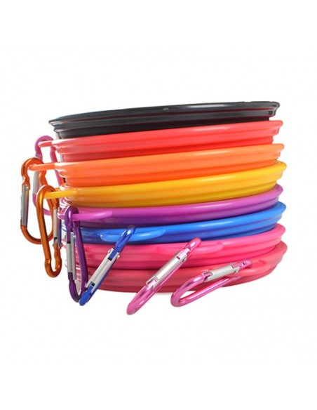 Foldable travel bowl with carabiner